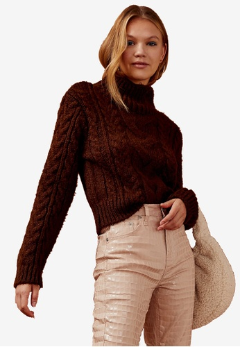 TOPSHOP brown Brown Cable Knitted Crop Roll Neck Jumper 0B71BAA599DF90GS_1