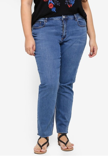 LOST INK PLUS blue Plus Size Relaxed Skinny In Chia With Ra 4150BAA036668DGS_1