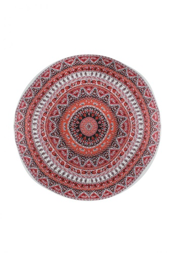 Shapes and Curves black and white and red and orange Mediterranean Sunset Print Mandala Beach Mat SH408AC74CMRPH_1