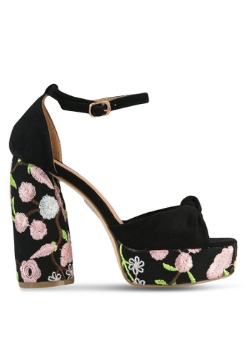 Public Desire black and pink Backbite Knotted Platform Curved Heels PU378SH0S9O1MY_1