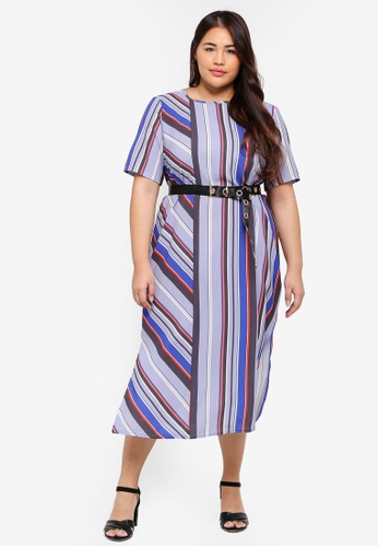 LOST INK PLUS multi Plus Size Column Dress In Stripe 11E94AA856DAF7GS_1