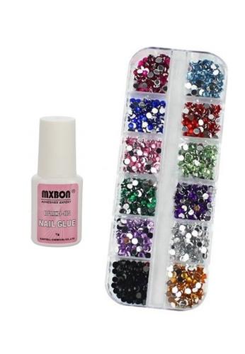 Pretty2u Taiwan Rhinestone 12 Colour + Nail Glue Set PR716BE05KQCMY_1