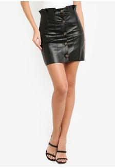 0e861d705 Button Through Paperbag Pu Mini Skirt EDED2AA5A79E73GS_1