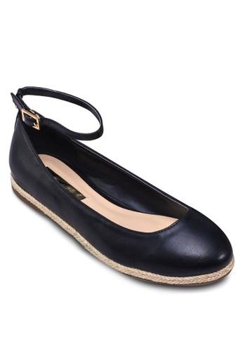 zalora時尚購物網的koumi koumi圓頭繞踝編織平底鞋, 女鞋, 芭蕾平底鞋