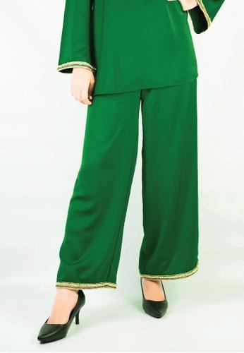 Zaryluq green Baby Doll Pants in Emerald Green 5D825AA3ED54DBGS_1