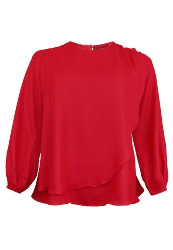 Herway red Herway Plus Size Women Layer Blouse AA93DAA9C1F596GS_1