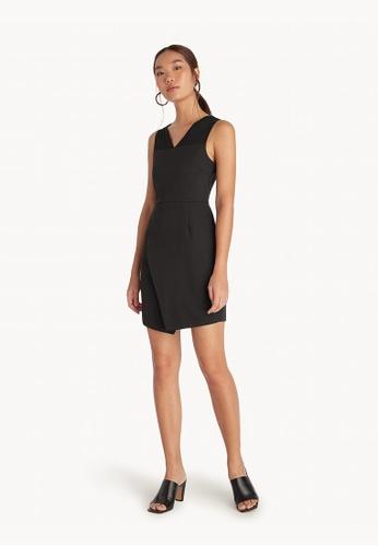 Pomelo black Midi Asymmetric Slit Dress - D9A84AA86FD257GS_1