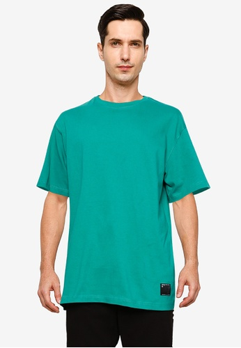 UniqTee green Plain Oversized Tee with Side Label 910FAAA75656E3GS_1