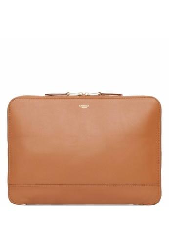 "knomo brown Mason 12"" Leather Knomad Clutch Bag (Caramel) D8A1CAC7B42099GS_1"