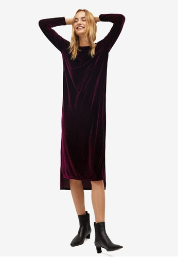 Mango red Asymmetric Velvet Dress 309B0AADA4E378GS_1