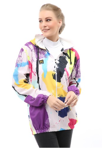 Hamlin multi Hardwin Jacket Outer Wanita Jaket Hoodie Sepeda Abstrak Motive Material Parasut ORIGINAL - Multicolor 47A52AA578A98CGS_1