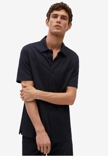 MANGO Man blue Technical Cotton Regular-Fit Shirt CED4FAA7F19084GS_1