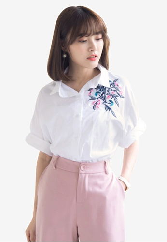 Tokichoi white Embroidery Patch Shirt 9FBC3AA1DCCE71GS_1