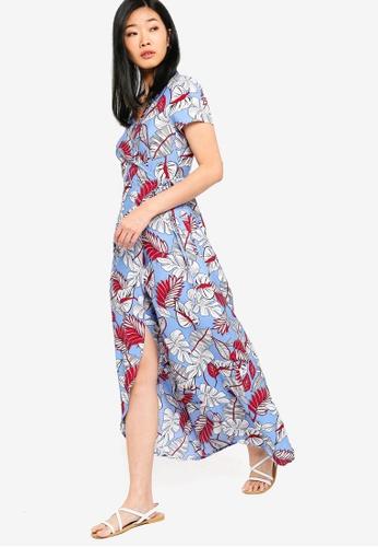 Something Borrowed blue Short Sleeves Wrap Maxi Dress 79EB4AA926DF69GS_1