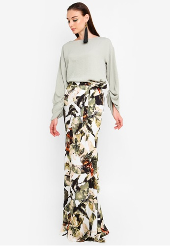 Aster Cowl Neck Kurung from Justin Yap Collection in green and Multi