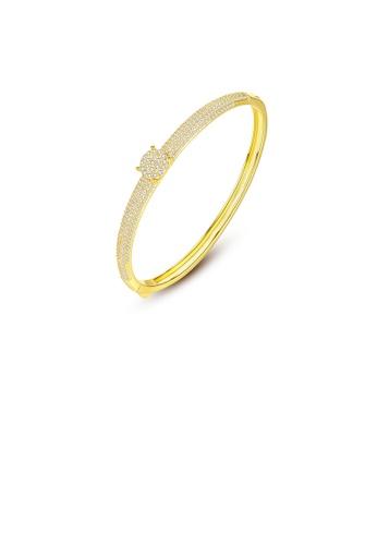 Glamorousky white Elegant and Brilliant Plated Gold Geometric Round Cubic Zirconia Bangle E2BAFAC3F7D909GS_1