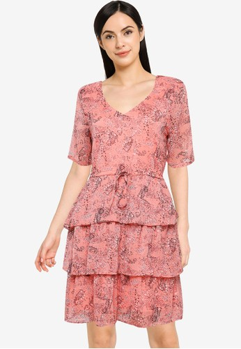 JACQUELINE DE YONG pink and orange Linda 2/4 Dress 959C4AAF24E628GS_1
