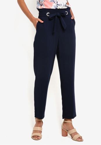 Dorothy Perkins navy Navy Eyelet Tie Soft Trousers DO816AA20BBFMY_1