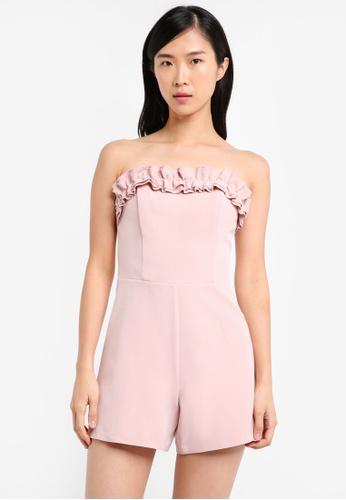 Miss Selfridge pink Petite Ruffle Bardot Playsuit MI665AA0SS6KMY_1