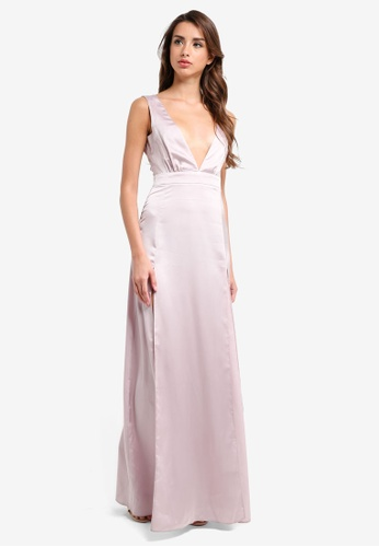 MISSGUIDED grey Plunge Double Split Front Satin Maxi Dress 59303AABE98586GS_1