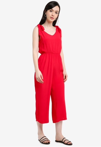 Miss Selfridge red Red Tie Shoulder Jumpsuit 9CA57AA25814F3GS_1