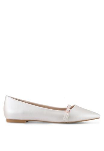 Velvet white Buckle Ballet Flat Shoes 2EE89SH44CFA6DGS_1