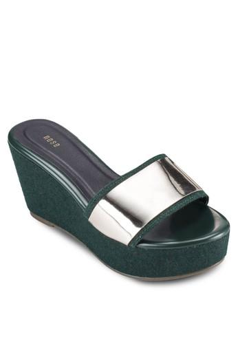 金屬寬帶楔型鞋, 女esprit hk分店鞋, 楔形涼鞋