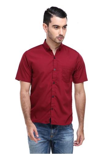 Hamlin red Hamlin Dwan Casual Shirt Kemeja Polos Pria Lengan Pendek Kasual Formal Material Cotton ORIGINAL - Maroon 7A644AA42C6CC5GS_1