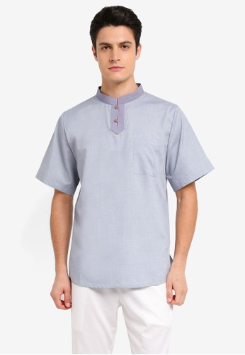 Zalia Homme blue Contrast Half Placket Short Sleeve Shirt E7D8AAA3B0AB98GS_1