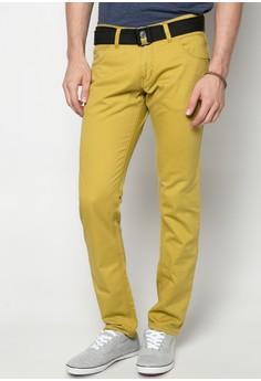 Col. Twill Pants Slim Fit w/ Belt