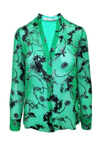 Alice + Olivia 綠色 alice + olivia 綠色印花襯衫 54E06AA884DEE6GS_1