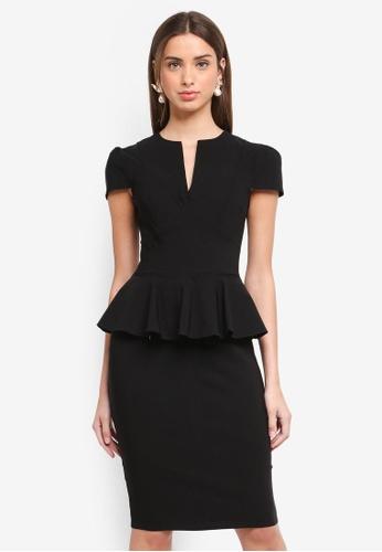 Goddiva black Deep V Peplum Dress 8D68FAA5B82E60GS_1