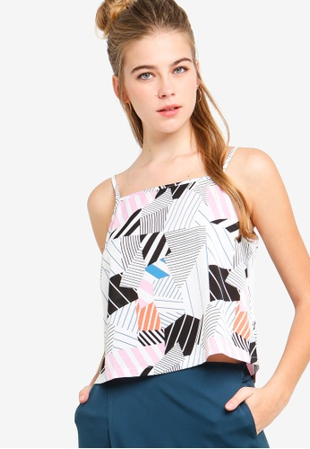 Something Borrowed white and multi Straight Neck Camisole Top 8406DAA657190EGS_1