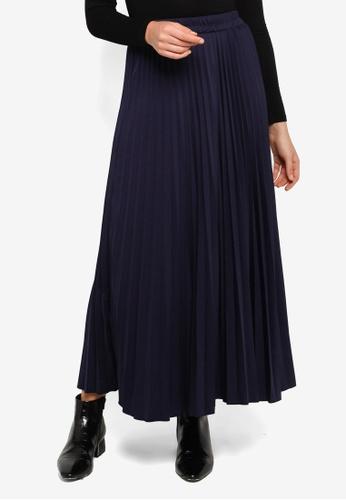 UN REVEUR blue Dahlia Pleated Flare Skirt 1C5DFAAFE1D726GS_1