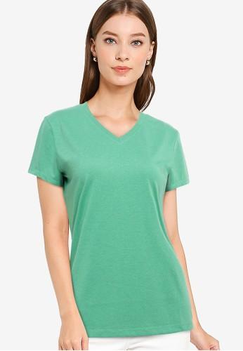 Tolliver green V Neck Basic Short Sleeve Tee AF2EBAAF2F0525GS_1
