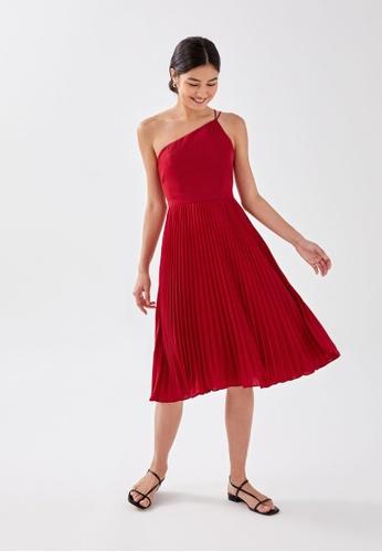 Love, Bonito red Anya Asymmetrical Pleated Midi Dress 3F86DAA226B232GS_1