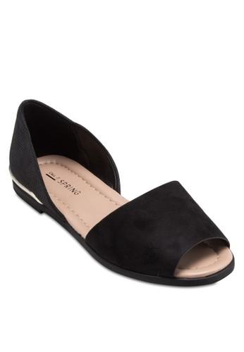 Chaunte 露趾esprit地址側鏤空平底鞋, 女鞋, 鞋