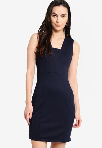 ZALORA WORK navy Textured Sleeveless Dress E77E5AA8A4B397GS_1