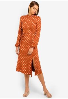 16% OFF Miss Selfridge Rust Polka Dot Hanky Hem Midi Dress HK  440.00 NOW  HK  369.90 Sizes 10 1983d4636