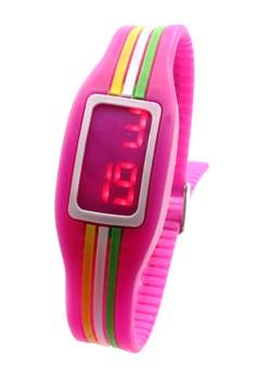 Digital LED Stripe Unisex Magenta Silicone Strap Watch