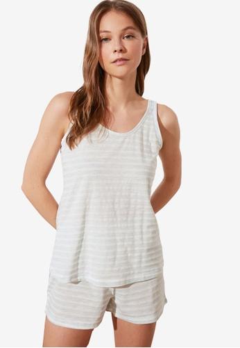 Trendyol 藍色 條紋針織Pajamas Set 81E37AA09C12F9GS_1