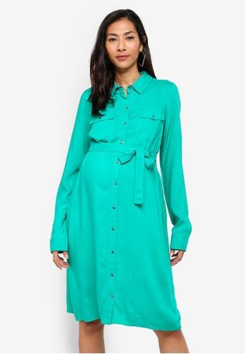 Mama.licious green Maternity Mercy Long Sleeve Woven Shirt Dress 3972CAAD3ADAADGS_1