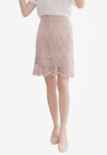 YOCO pink Lace Wrap Mini Skirt B3EFDAAC69B53BGS_1