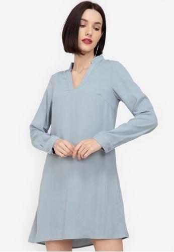 ZALORA WORK blue Notch Neck Dress With PU Belt FF88EAA5CBBDC6GS_1