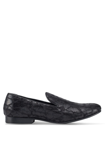 Topman black Black Duke Print Loafers 6883CSHF3FEE58GS_1