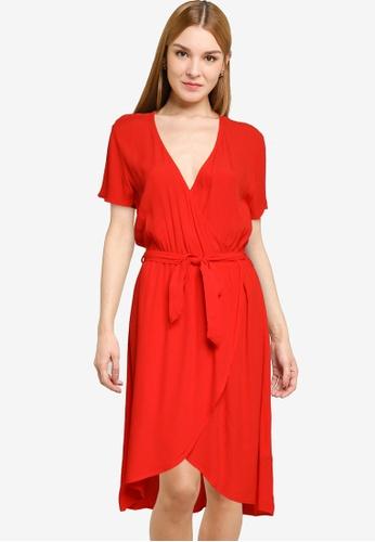 JACQUELINE DE YONG red Lea Short Sleeve Wrap Dress 93309AACF60448GS_1