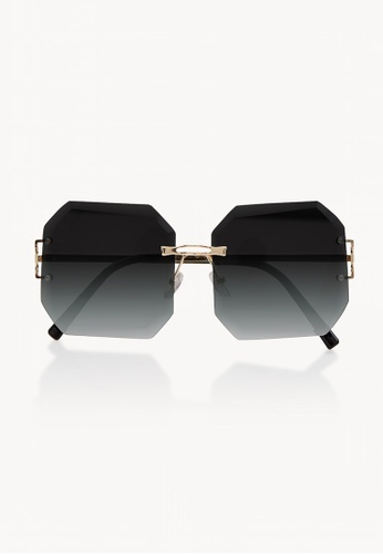 8afb8c9af71a Buy Pomelo Gold Metal Octagon Sunglasses - Black Online on ZALORA Singapore