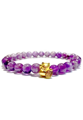 LITZ purple and gold [SPECIAL] LITZ 999 (24K) Gold Lucky Cat Charm with free Amethyst Bracelet 63244AC245D4DDGS_1