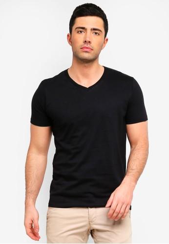 Brave Soul black Saint V Neck T-Shirt F977DAA4CA3F52GS_1