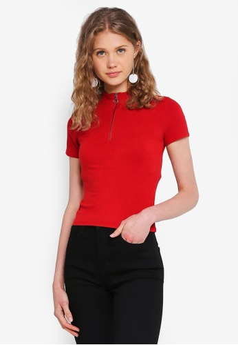 Hollister red Chase Mock Zip Slim Top 77847AA2100A56GS_1